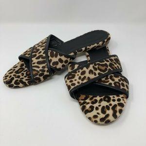 J CREW Leopard Cora Criss Cross Sandals Size 10